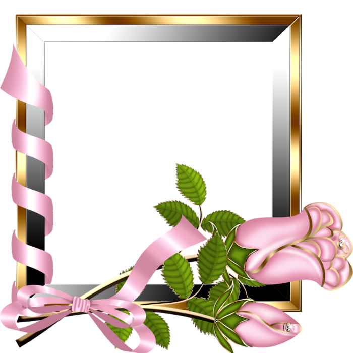 Silver bells flower clipart clip black and white download Gold and Silver Transparent Frame with Light Pink Roses | Gallery ... clip black and white download