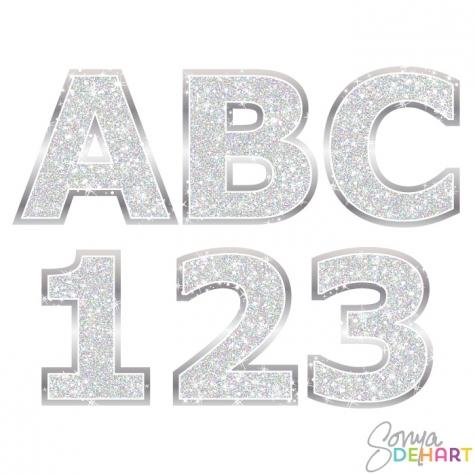 Silver glitter alphabet letter clipart clip art black and white Alphabet - Silver Glitter Clipart | Educents clip art black and white