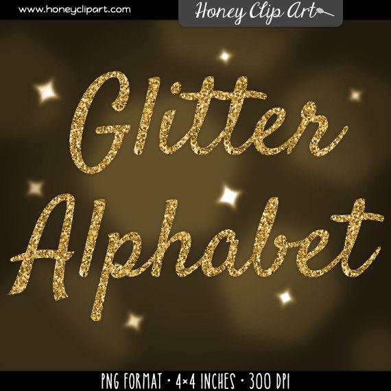 Silver glitter alphabet letter clipart graphic download Gold glitter font clipart: gold glitter letters digital graphic download