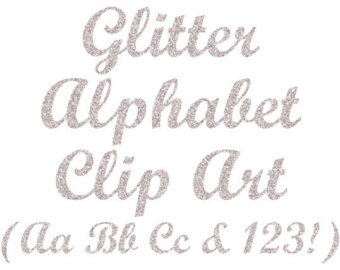 Silver glitter alphabet letter clipart picture black and white stock Silver Glitter Letters Clip Art Digital Glitter Alphabet picture black and white stock