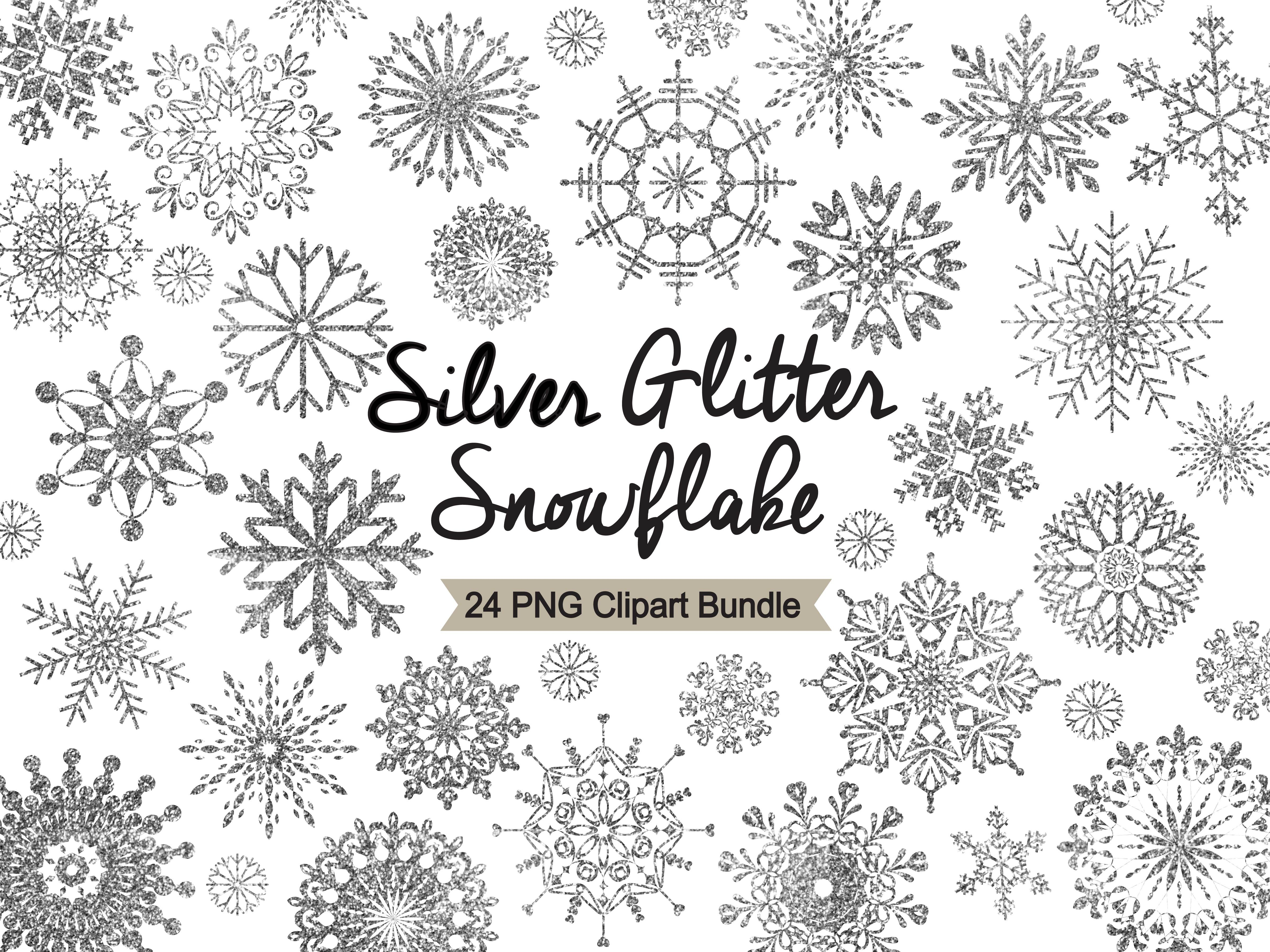 Silver snowflakes clipart image royalty free download Silver Glitter Snowflake Clipart image royalty free download