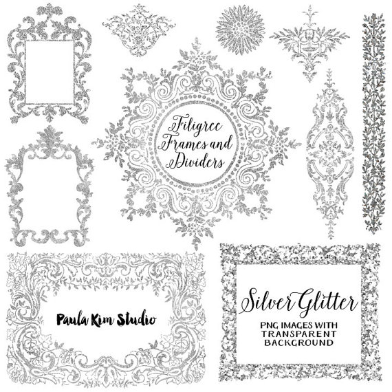 Silver glitter frame clipart image library stock Silver Glitter Digital Frame, Flourish Clipart, Silver ... image library stock