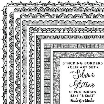 Silver glitter frame clipart clipart transparent stock Silver Glitter Frames Stackable Borders clipart transparent stock