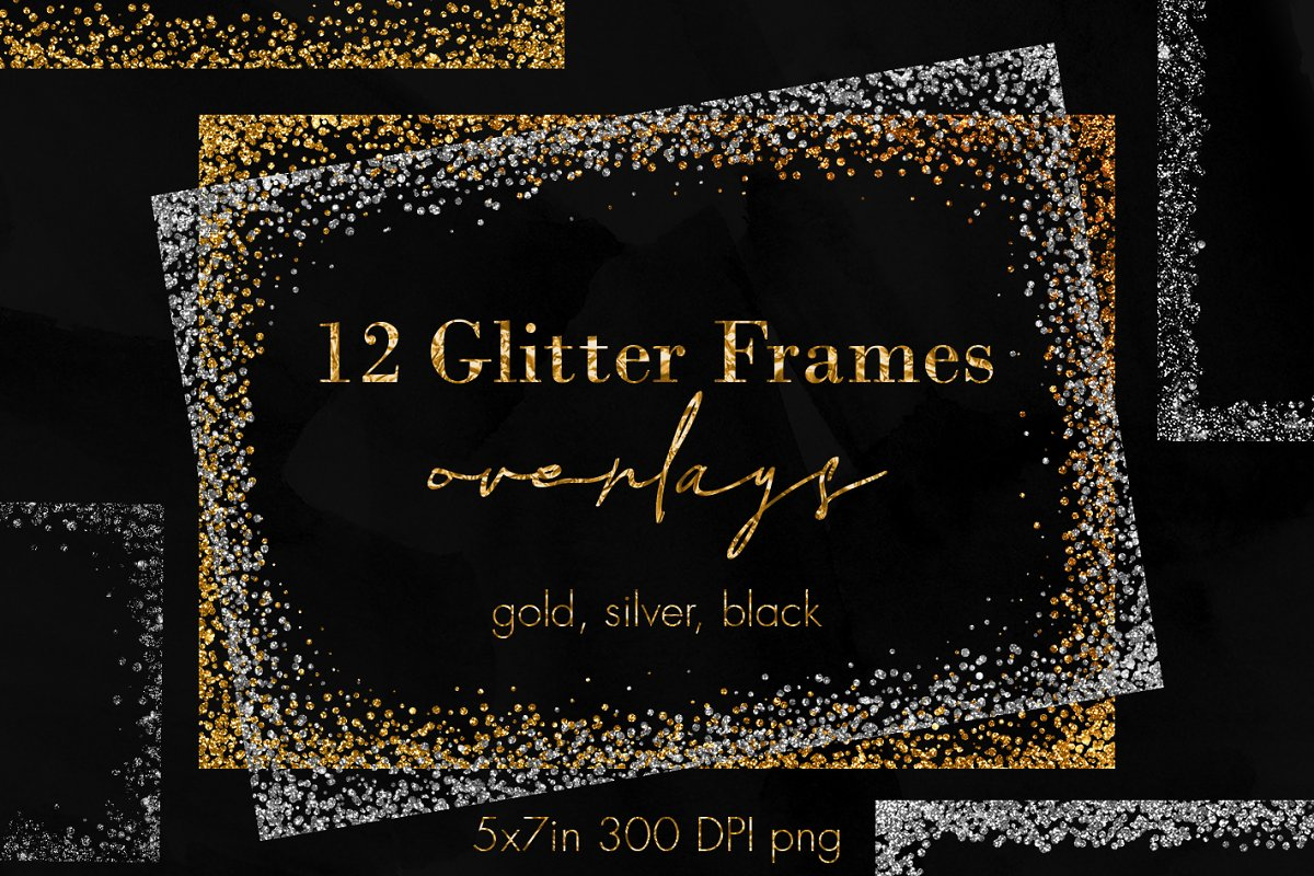 Silver glitter frame clipart clip royalty free library 12 Confetti glitter frame overlays clip royalty free library