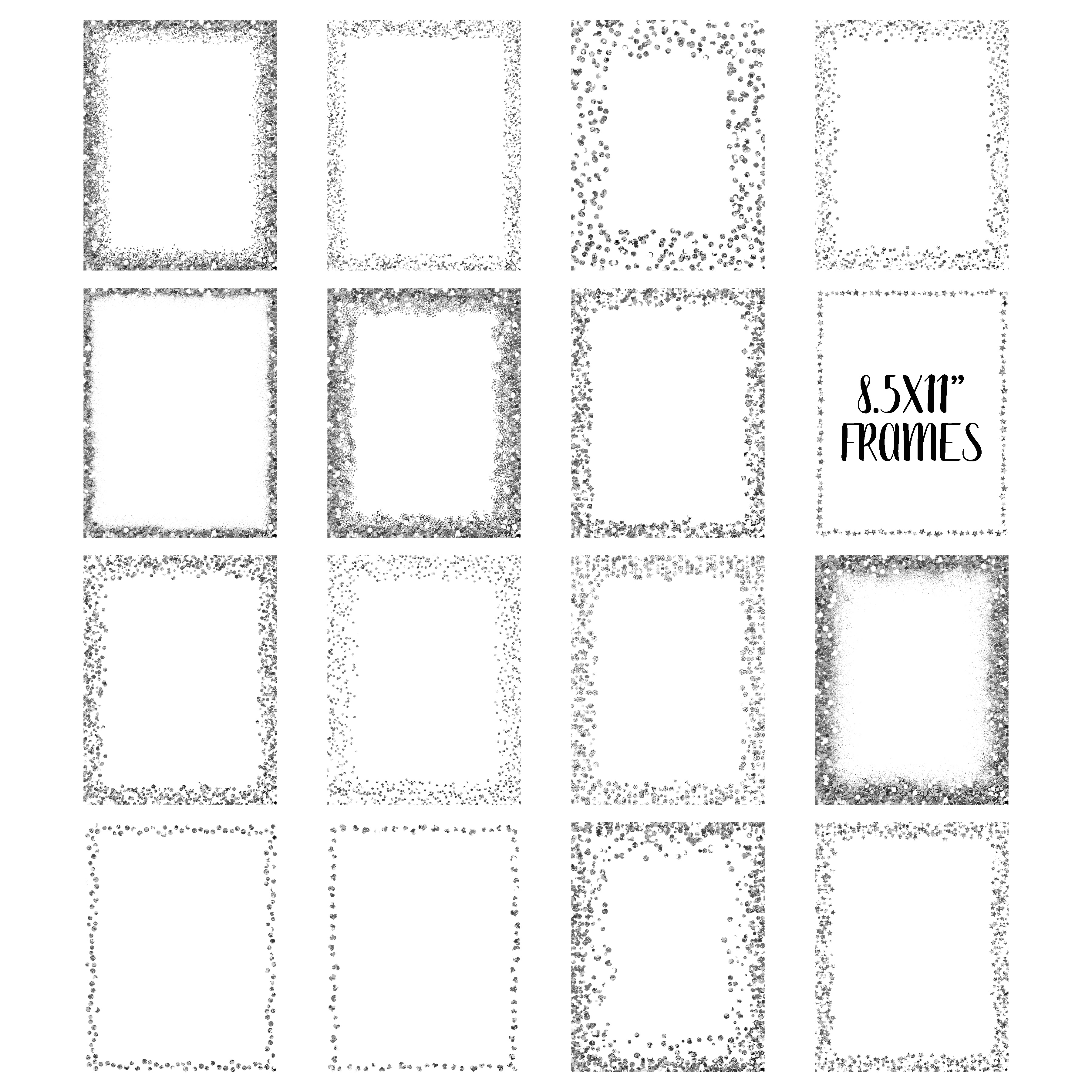 Silver glitter frame clipart image black and white download Silver Glitter Frames and Borders PNG Clipart Bundle image black and white download