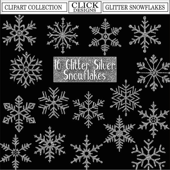 Silver glitter snowflake clipart vector download GLITTER SILVER SNOWFLAKES Digital ClipArt: Sparkle by ... vector download