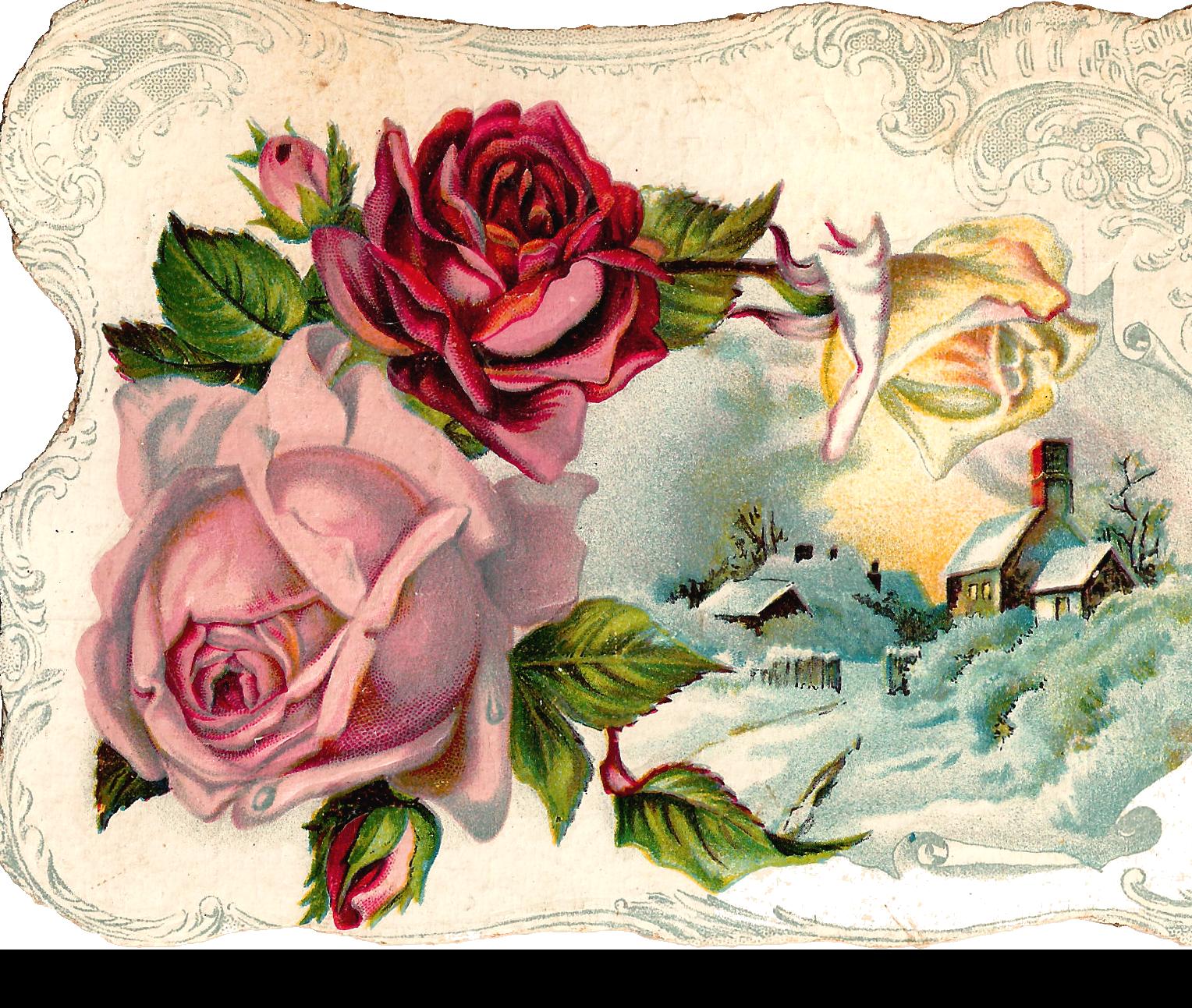Silver rose corner border with cross clipart clip Antique Images: Free Digital Flower Pink Rose Corner Design ... clip