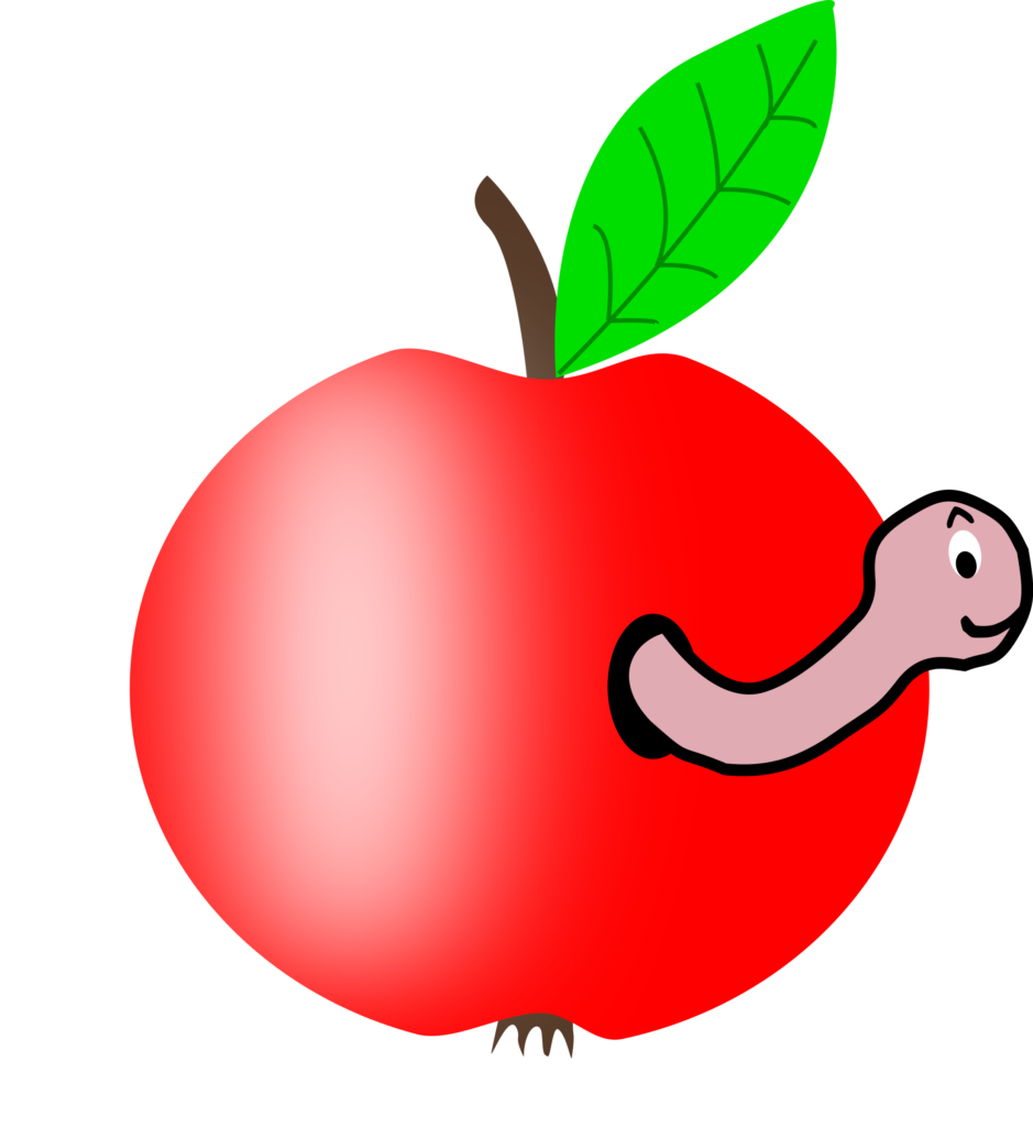 Simple apple clipart transparent stock Apple 002 Red Green Leaf W Worm Of Clipart | typegoodies.me transparent stock