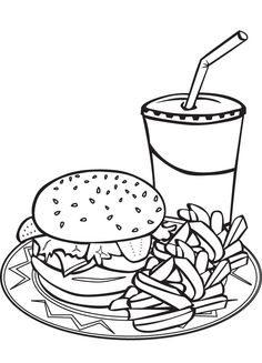 Simple burger and fries black and white clipart png stock Free Hamburger Cliparts Black, Download Free Clip Art, Free ... png stock