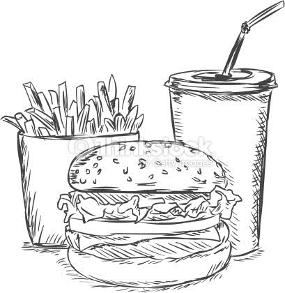 Simple burger and fries black and white clipart picture black and white download french fries, soda, burger | doodle in 2019 | Food sketch ... picture black and white download