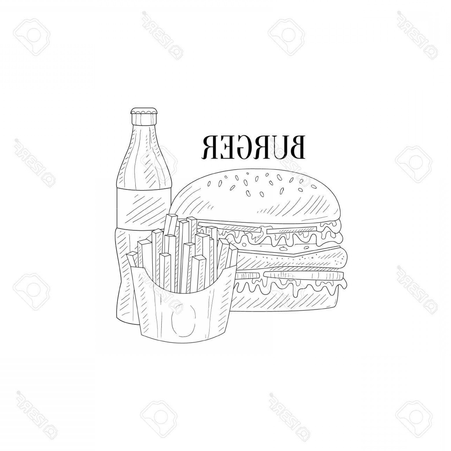 Simple burger and fries black and white clipart png freeuse Photostock Vector Burger Soda And French Fries Hand Drawn ... png freeuse