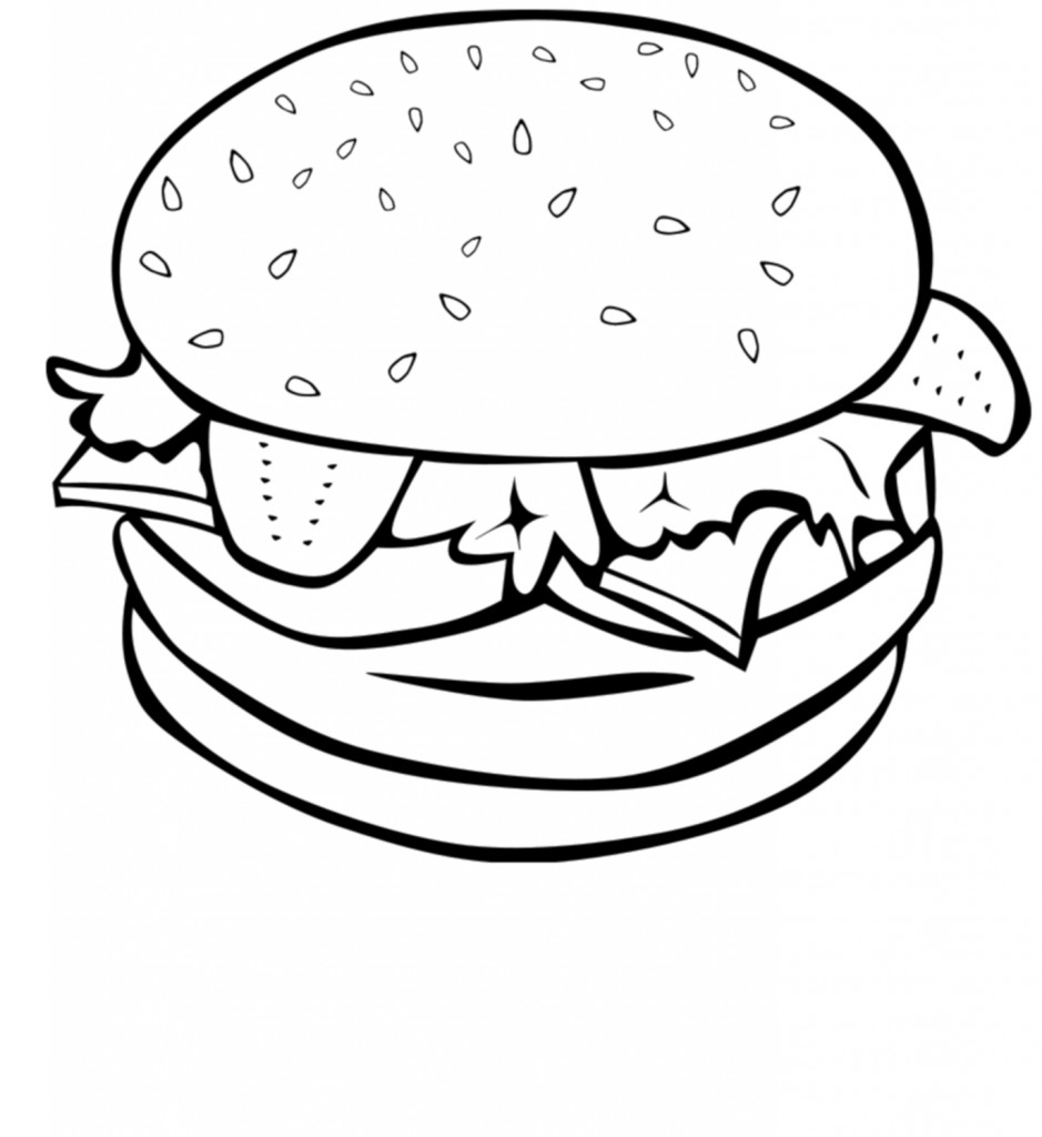 Simple burger and fries black and white clipart jpg royalty free stock Burger Clipart | Free download best Burger Clipart on ... jpg royalty free stock