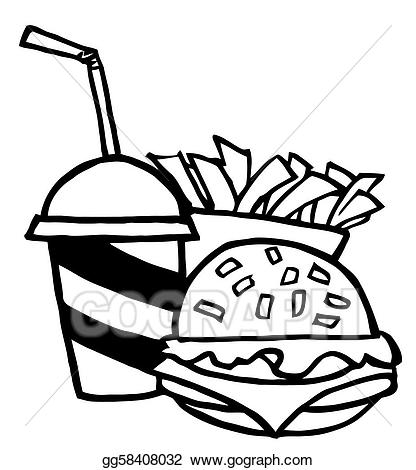 Simple burger and fries black and white clipart graphic black and white stock Vector Stock - Hamburger drink and french fries. Clipart ... graphic black and white stock