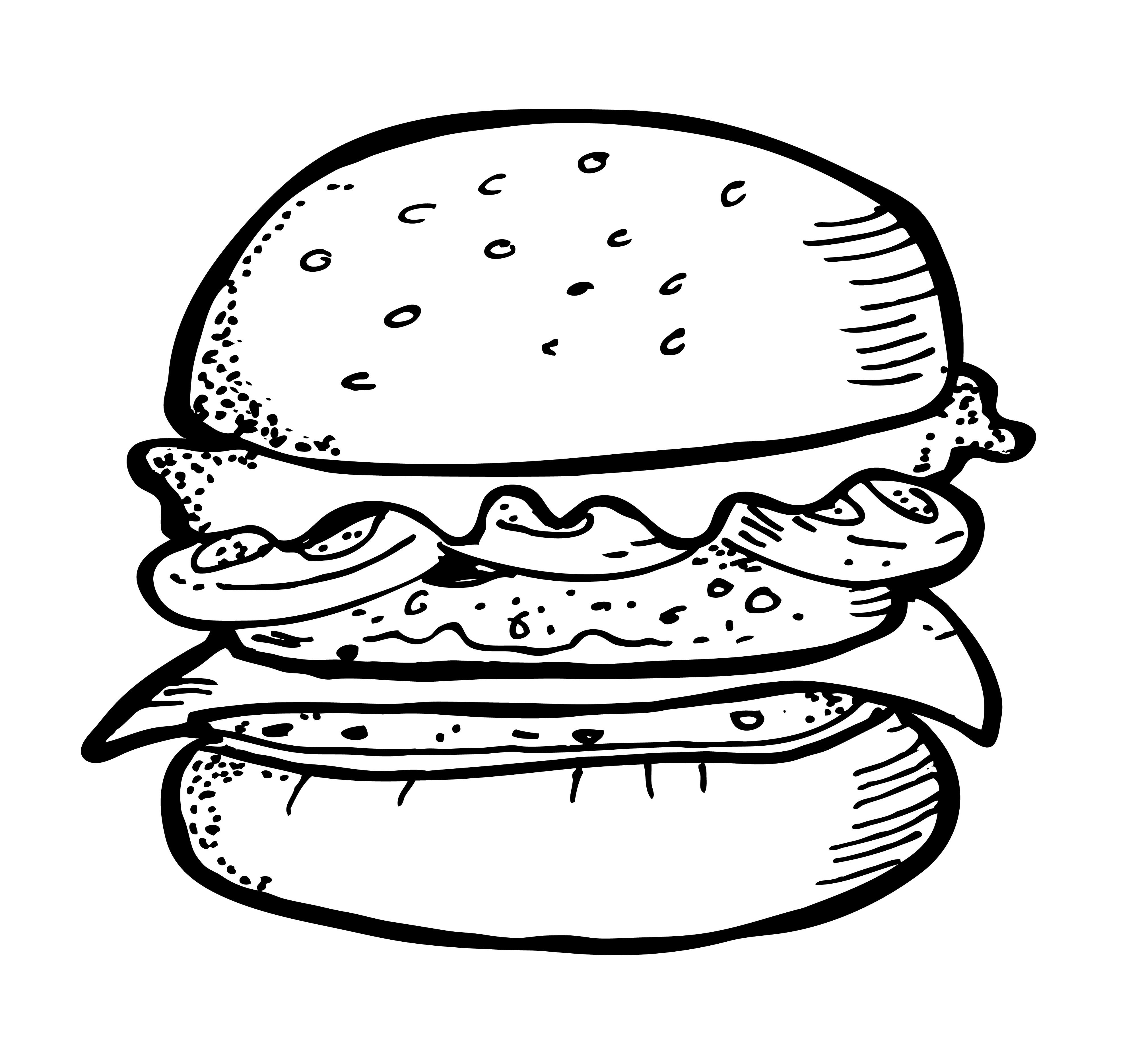 Simple burger and fries black and white clipart picture royalty free stock Burger And Fries Drawing Burger and fries drawing delux ... picture royalty free stock
