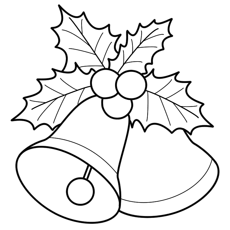 Simple christmas bell black and white clipart jpg stock Bells with Mistletoe - Coloring Page (Christmas) | Art ... jpg stock