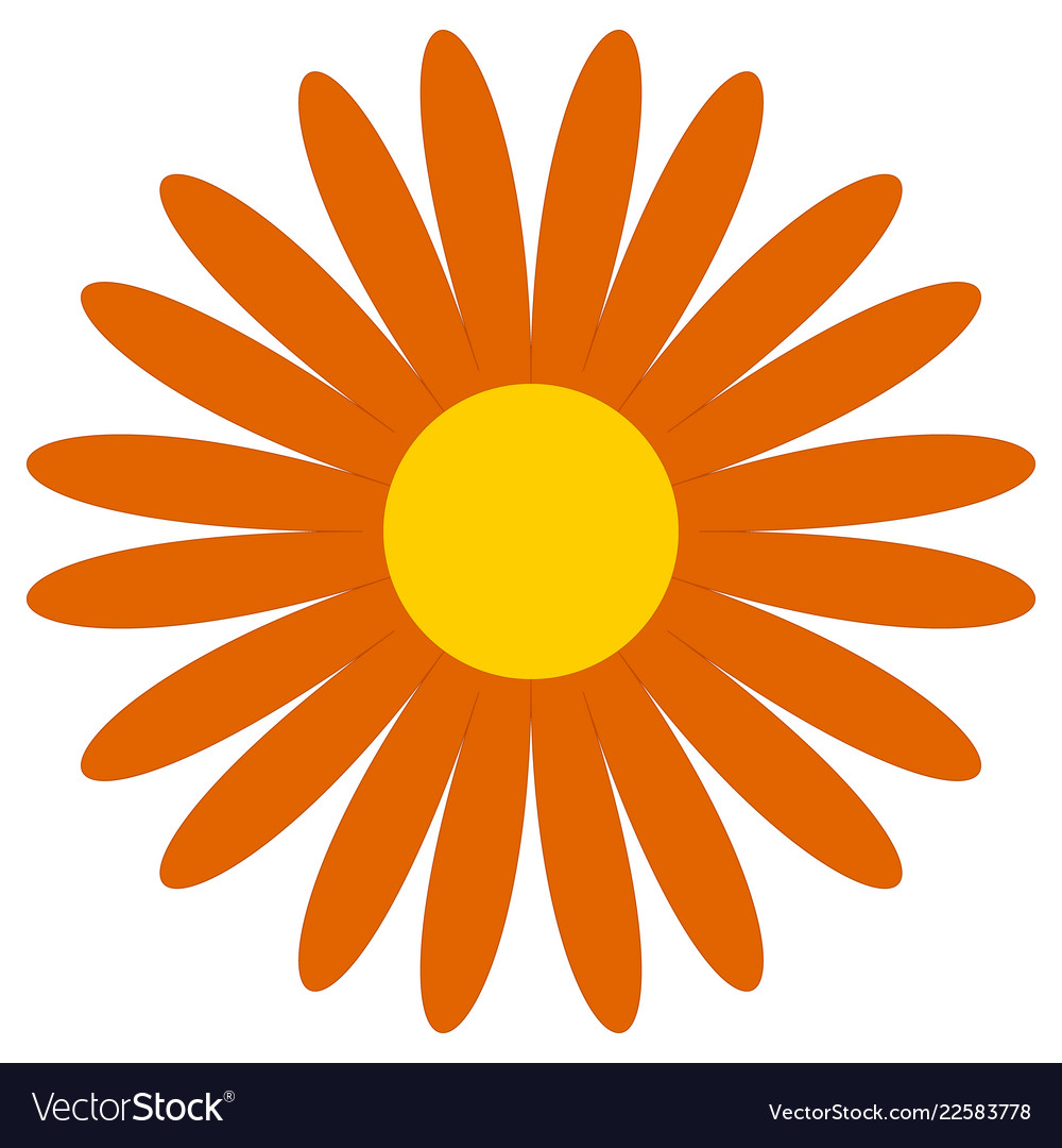 Simple clipart flower vector freeuse library Classic flower clip-art simple orange daisy vector freeuse library