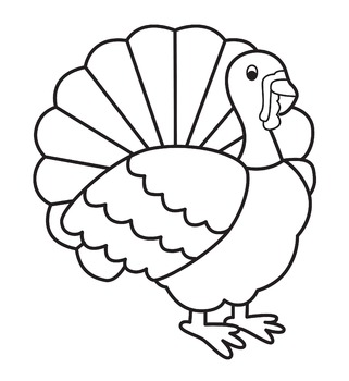 Simple clipart turkey graphic stock Turkey Clip Art Black And White & Worksheets | Teachers Pay ... graphic stock