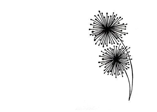 Simple dandelion clipart banner transparent Simple Dandelion Line Drawing - Black and White Abstract Art ... banner transparent