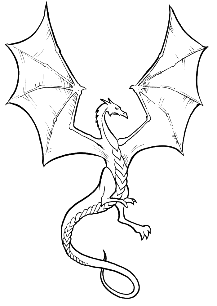Simple dragon clipart coloring book graphic royalty free library Dragon Coloring Pages To Print - AZ Coloring Pages | Coloring Pages ... graphic royalty free library