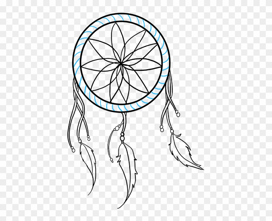 Simple dream catcher clipart black and white banner freeuse library How To Draw Dream Catcher - Simple Dream Catcher Drawing ... banner freeuse library