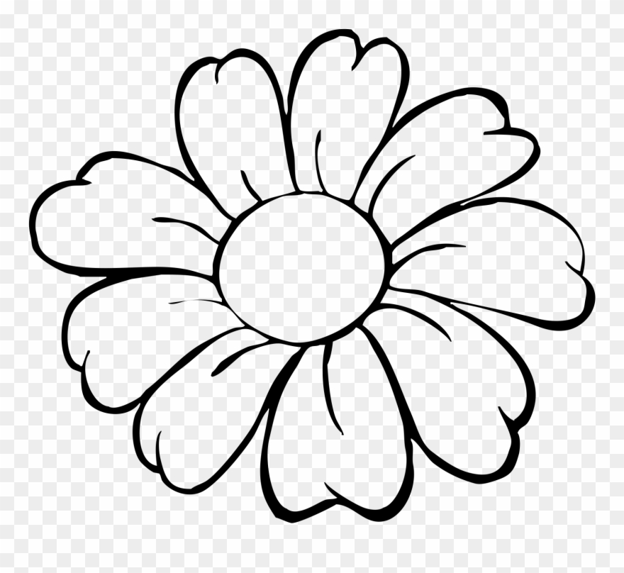 Simple flower clipart outline png free Flower Pot Bw Outline Clip Art - Easy Simple Flower Drawing ... png free