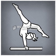 Simple gymnast clipart svg black and white Simple Line Drawing Of A Gymnast On The Balance Beam svg black and white