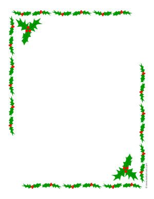 Simple holly border clipart graphic library library Printable Christmas Border Writing Paper | ... open a new ... graphic library library