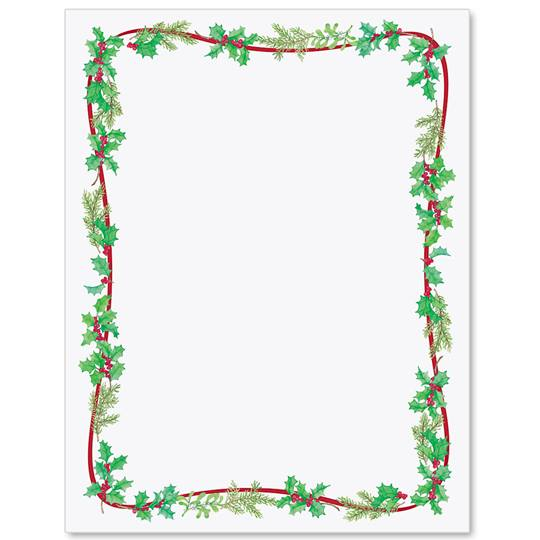 Simple holly border clipart clip library library Simple Holly Border Papers | PaperDirect\'s clip library library