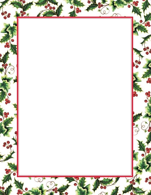 Simple holly border clipart jpg download Free Christmas Letter Borders | Geographics® Holly Ivy ... jpg download