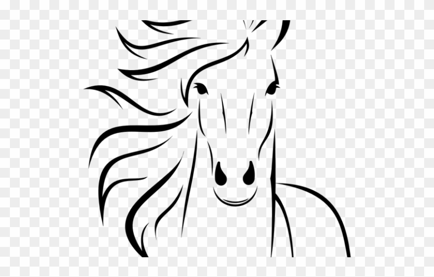 Horse heads facing each other clipart high resolution clip art black and white download Horse Clipart Easy - Simple Horse Head Drawings - Png ... clip art black and white download