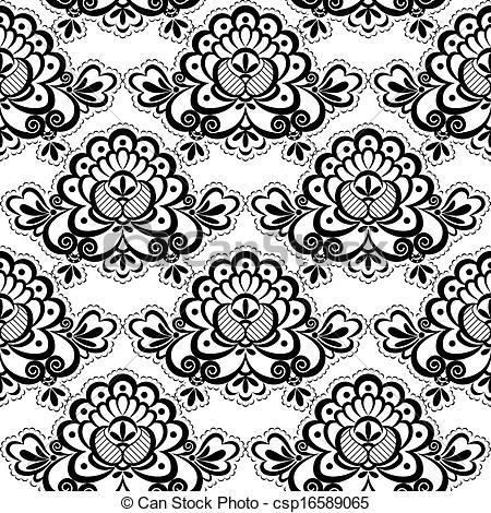 Simple lace patterns clipart black and white stock Clip Art Vector of seamless lace flora - Black Lace. Floral ... black and white stock