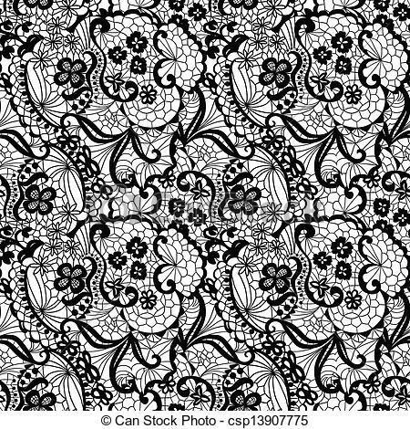 Simple lace patterns clipart png black and white library Vectors Illustration of Lace seamless pattern with flowers - Lace ... png black and white library