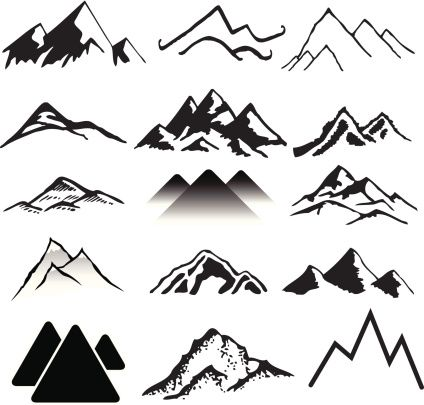 A variety of mountains landscapes. | Tattoo | Mountain ... graphic black and white download