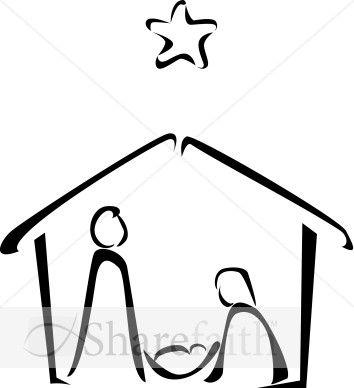 Simple nativity clipart clip art free download Black and White Nativity Sketch   church   Nativity ... clip art free download