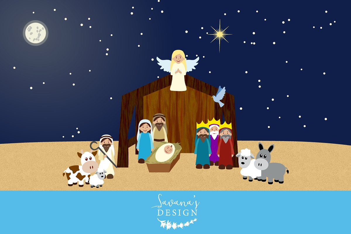 Simple nativity clipart jpg free download Nativity Clipart ~ Illustrations ~ Creative Market jpg free download