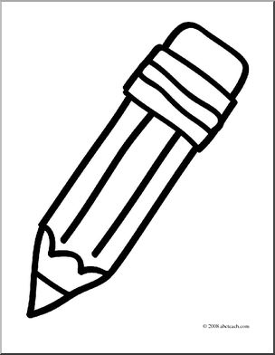 Simple pencil clipart black and white banner stock Clip Art: Basic Words: Pencil (coloring page) I abcteach.com ... banner stock