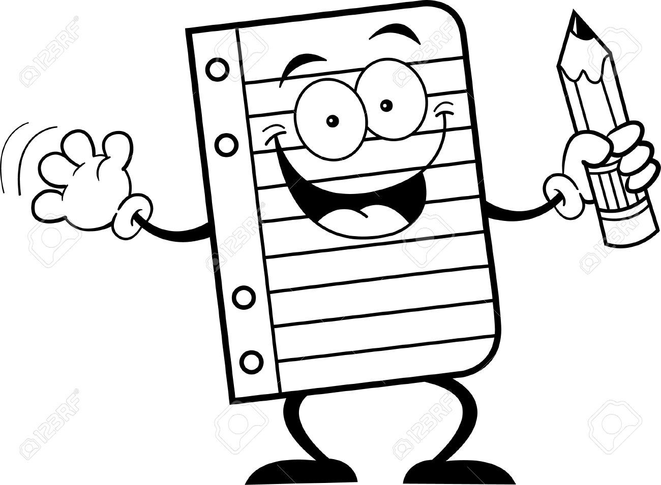 Simple pencil clipart black and white graphic transparent Black And White Illustration Of A Notebook Paper Holding A ... graphic transparent