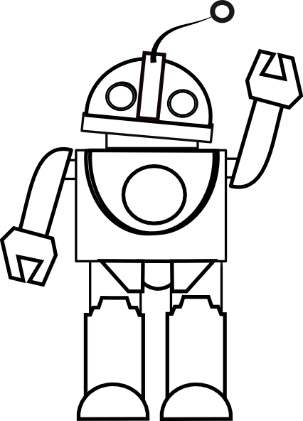 Simple robot with balloon clipart black and white vector Free Robot Cliparts Black, Download Free Clip Art, Free Clip ... vector