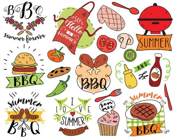 Simple smokehouse clipart image black and white library Summer BBQ Clipart, vector, barbecue clipart, summer doodle ... image black and white library