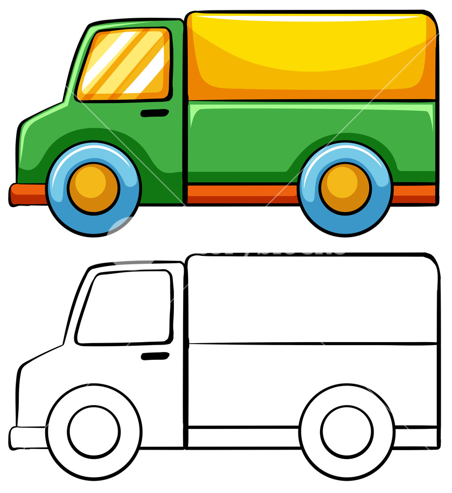 Simple truck clipart svg Delivery truck in simple drawing Royalty-Free Stock Image ... svg