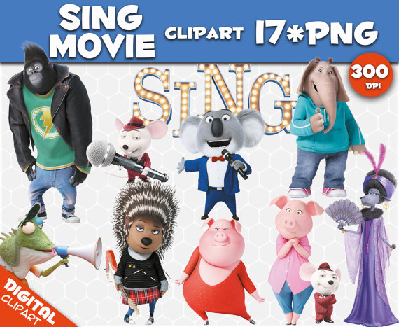 Sing movie clipart clip royalty free stock Sing movie Clipart 17 PNG 300dpi Images Digital Clip Art ... clip royalty free stock