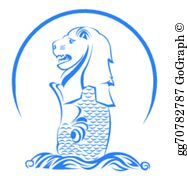 Singapore merlion clipart clip art black and white Merlion Clip Art - Royalty Free - GoGraph clip art black and white