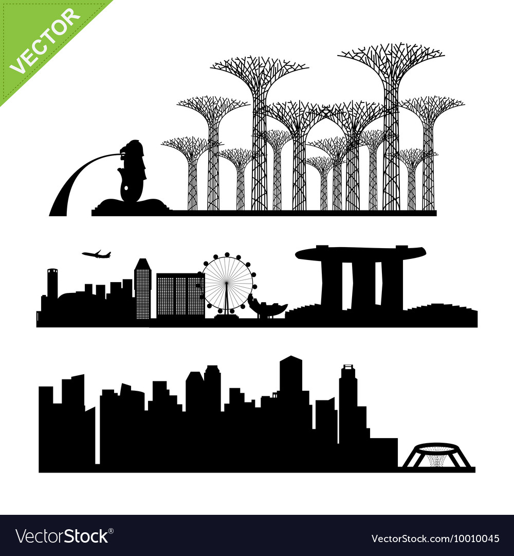 Singapore skyline silhouette clipart clip stock Singapore city landmark silhouettes clip stock