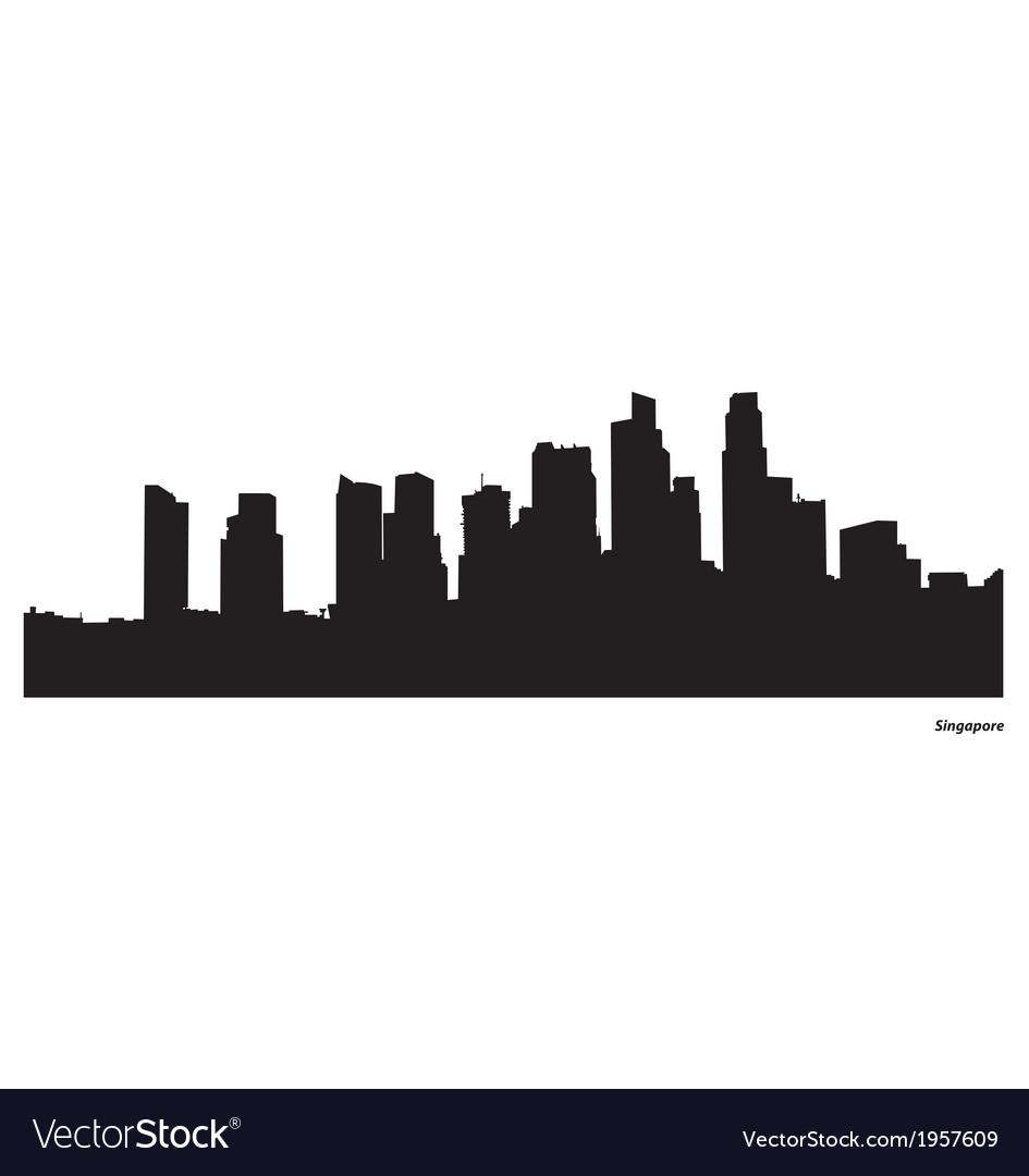 Singapore skyline silhouette clipart banner free library Singapore skyline vector image banner free library