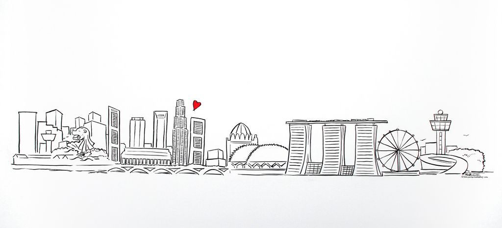 Singapore skyline silhouette clipart clip art royalty free library Singapore skyline simple linework illustration | NoLove in ... clip art royalty free library