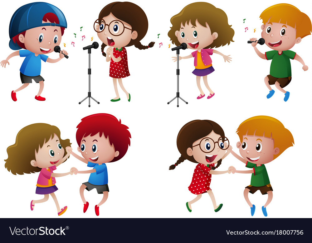 Singing and dancing clipart library Boys and girls singing and dancing library