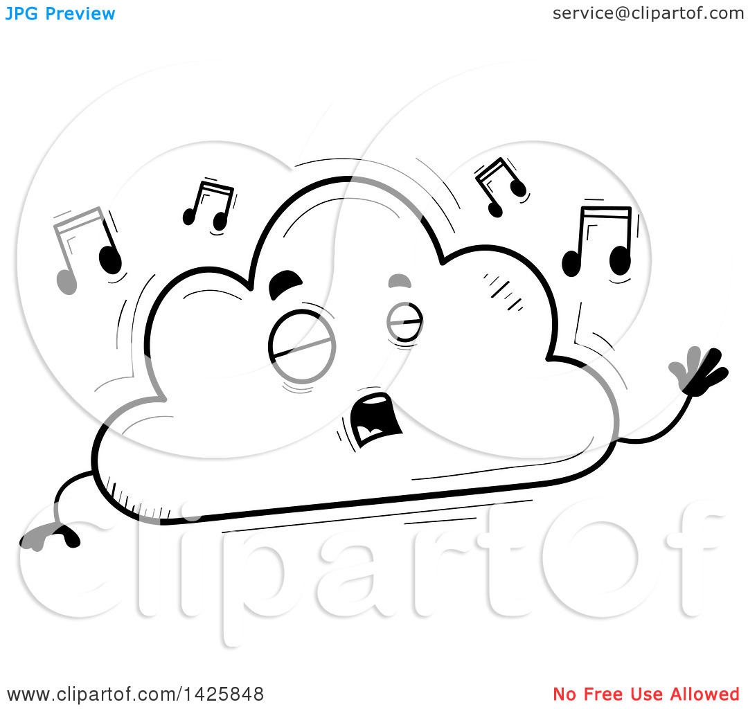 Singing book character clipart image free Clipart of a Cartoon Black and White Doodled Singing Cloud ... image free