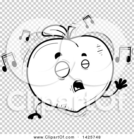 Singing book character clipart clipart royalty free library Clipart of a Cartoon Black and White Doodled Singing Peach ... clipart royalty free library