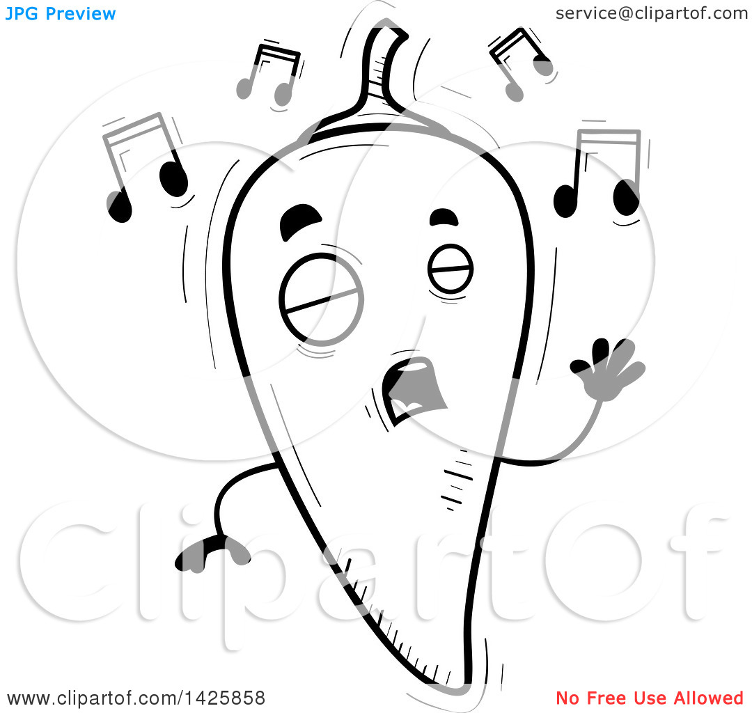 Singing book character clipart graphic free Clipart of a Cartoon Black and White Doodled Singing Hot Chile ... graphic free