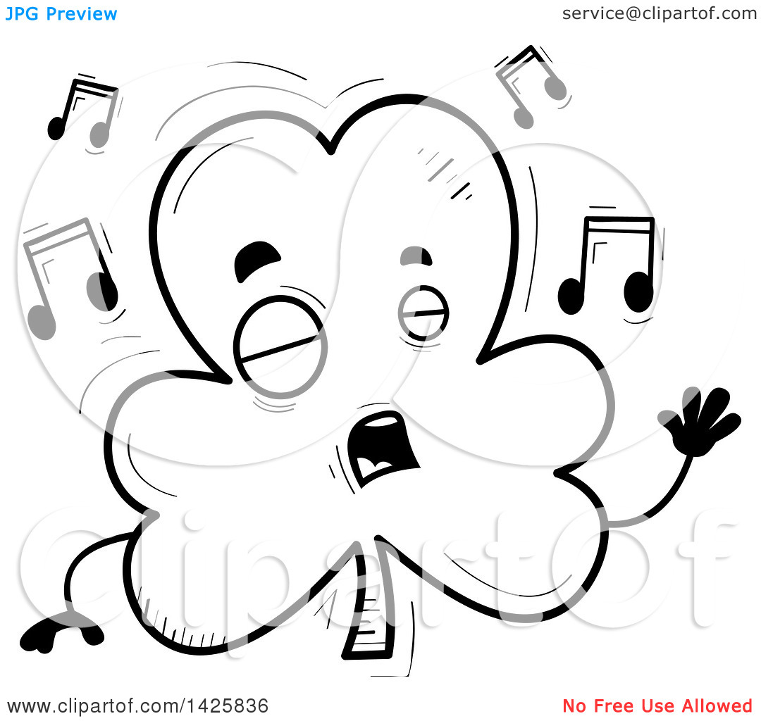 Singing book character clipart black and white library Clipart of a Cartoon Black and White Doodled Singing Shamrock ... black and white library